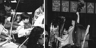 左:発表会で(小3)右:吹奏楽部の学習発表会(小4)