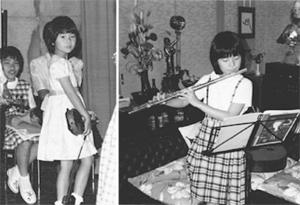 左:ヴァイオリンの発表会で(6歳ころ)<br /> 右:祖父母宅にて(10歳ころ)