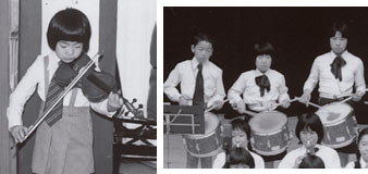 左:発表会で(小学1年)右:金管バンドで(中央/小学5年)