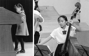 左:ビクトロンの発表会で(小1) 右:吹奏楽部で(中2)